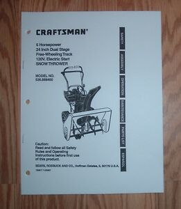 craftsman 536 888400 snow thrower owners manual with illustrated rh ebay com craftsman 26 inch snow blower owners manual Snow Blowers at Sears Sale