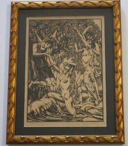 RAPHAEL DROUART WOODCUT ART DECO ANTIQUE NUDES NYMPHS GARDEN SIGNED RARE LIMITED