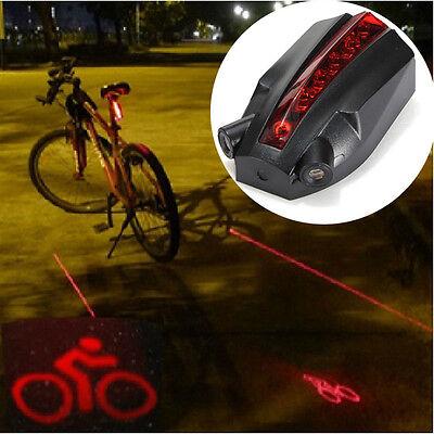 5 LED 2 Laser Cycling Bicycle Bike Logo Rear Tail Light Beam Warning Lamp Light