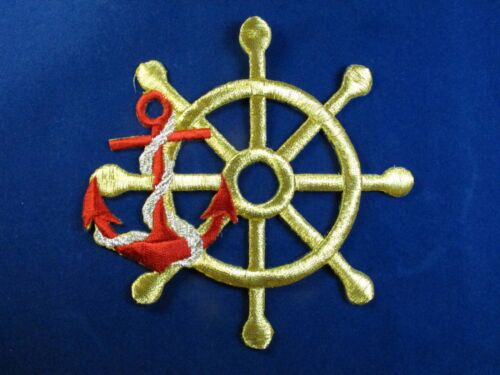 #3036 Golden Steering Wheel,Red Anchor w//Rope Embroidery Iron On Applique Patch