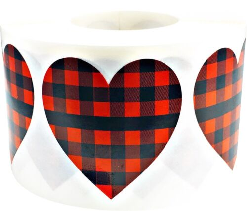 Buffalo Plaid Heart Stickers Valentine/'s Day 1 1//2 Inch 500 Adhesive Labels
