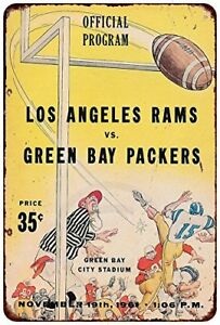 1961-Los-Angeles-Rams-VS-Green-Bay-Packers-Rustic-Retro-Metal-Sign-8-034-x-12-034