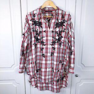 S Bnwot Check Woman Size Floral Oversize Red Shirt Zara Dip Hem Embroidered zqSGUVpM