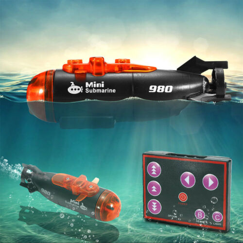 Mini Micro Radio Remote Control RC Submarine Ship Boat With LED Light Gifts Toy