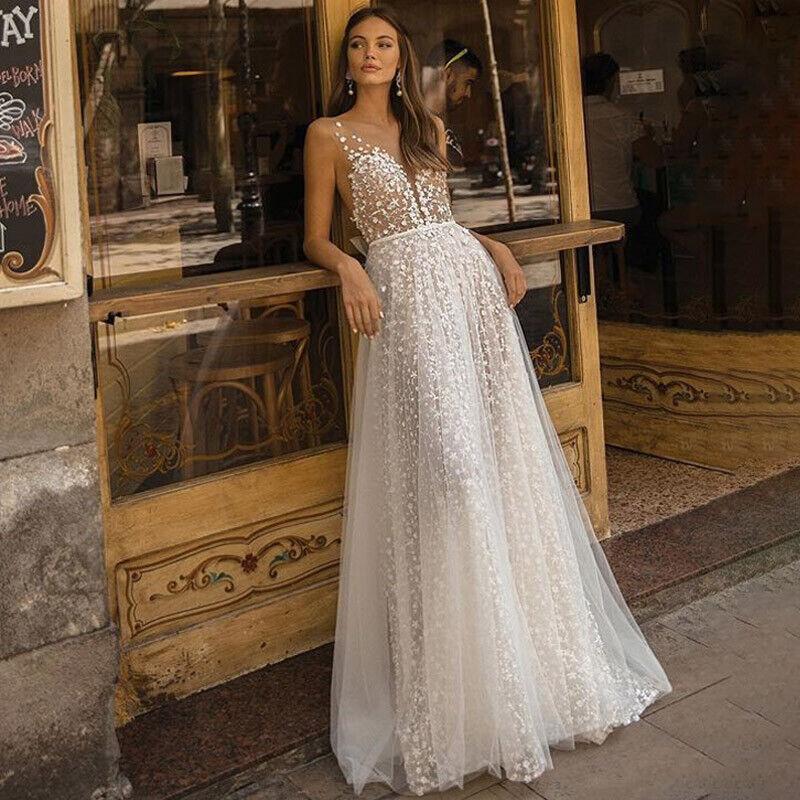 #1 Weiß - Ärmellos Abendkleid Brautjungfer Hochzeit Party