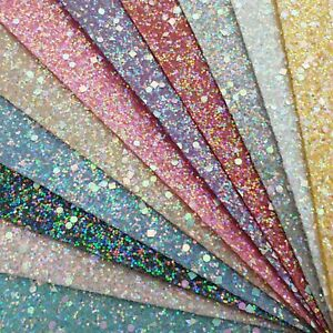 Pastel-Gemstones-Chunky-Glitter-Fabric-A4-Or-A5-Sheets-Hair-Bows-Arts-amp-Crafts