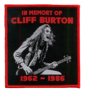 CLIFF-BURTON-Aufnaher-IN-MEMORY-Tribute-Patch-red-border-edition-Metallica