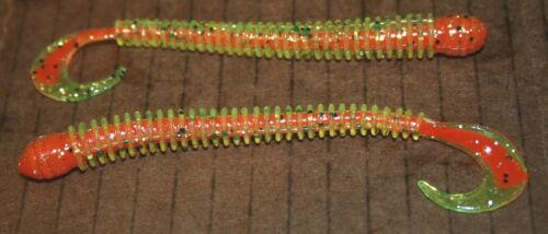 "4/"" Ring Worm Disc Body Tomato Core Bass Walleye Plastic Jig Worm 50 pack bulk"