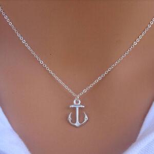 Hot-Fashion-New-Simple-Design-Cute-Anchor-Silver-Pendant-Bib-Necklace-Jewelry