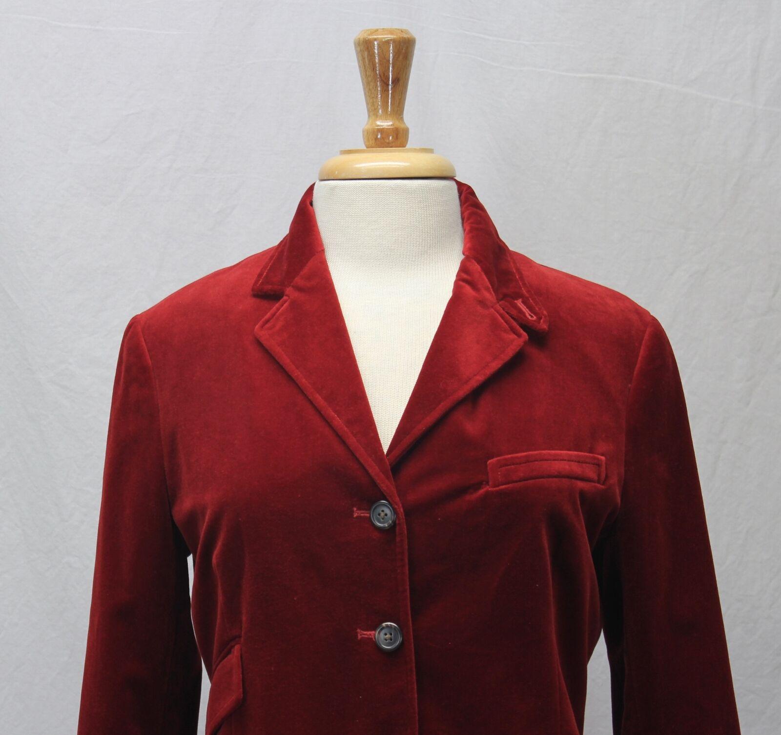 Ralph Lauren Red Velvet Blazer Jacket Size 10 - image 2