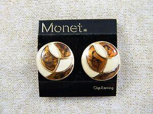 Retro Earrings Brown Camel Beige Beige Brown Earrings Clip On