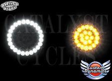 Custom Dynamics LED Dynamic Ringz Harley Turn Signals White & Amber w/ 1157 bulb