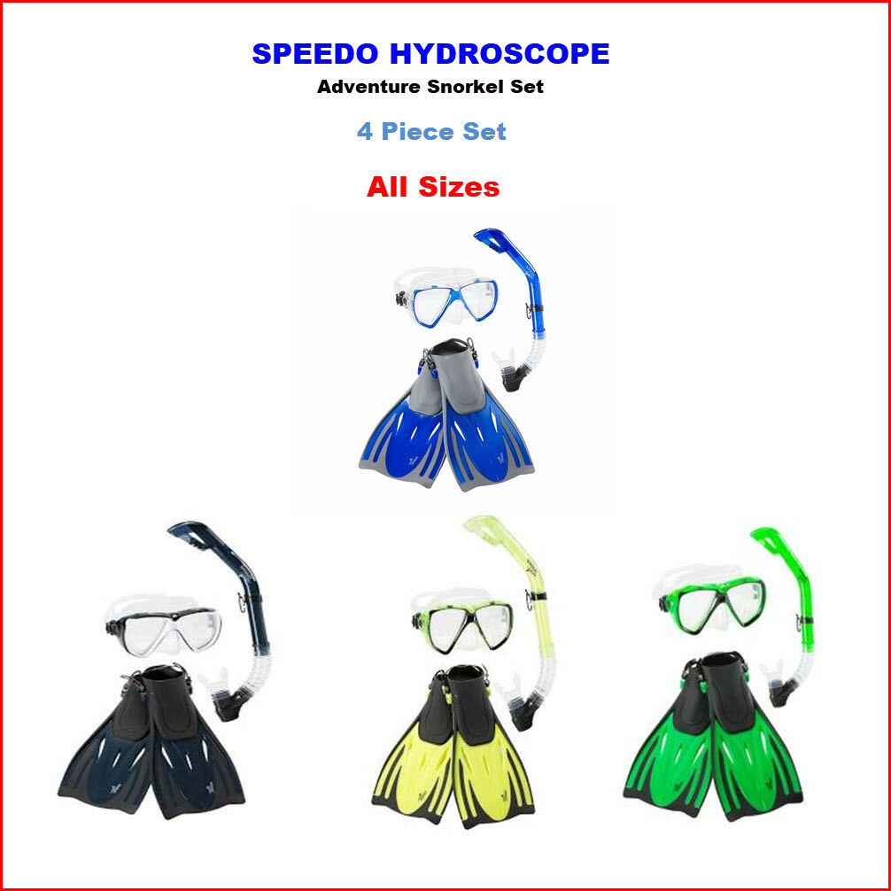 4 pcs - Speedo ADULT Hydroscope PERFORMANCE Snorkel FIN MASK - ALL SIZES COLORS