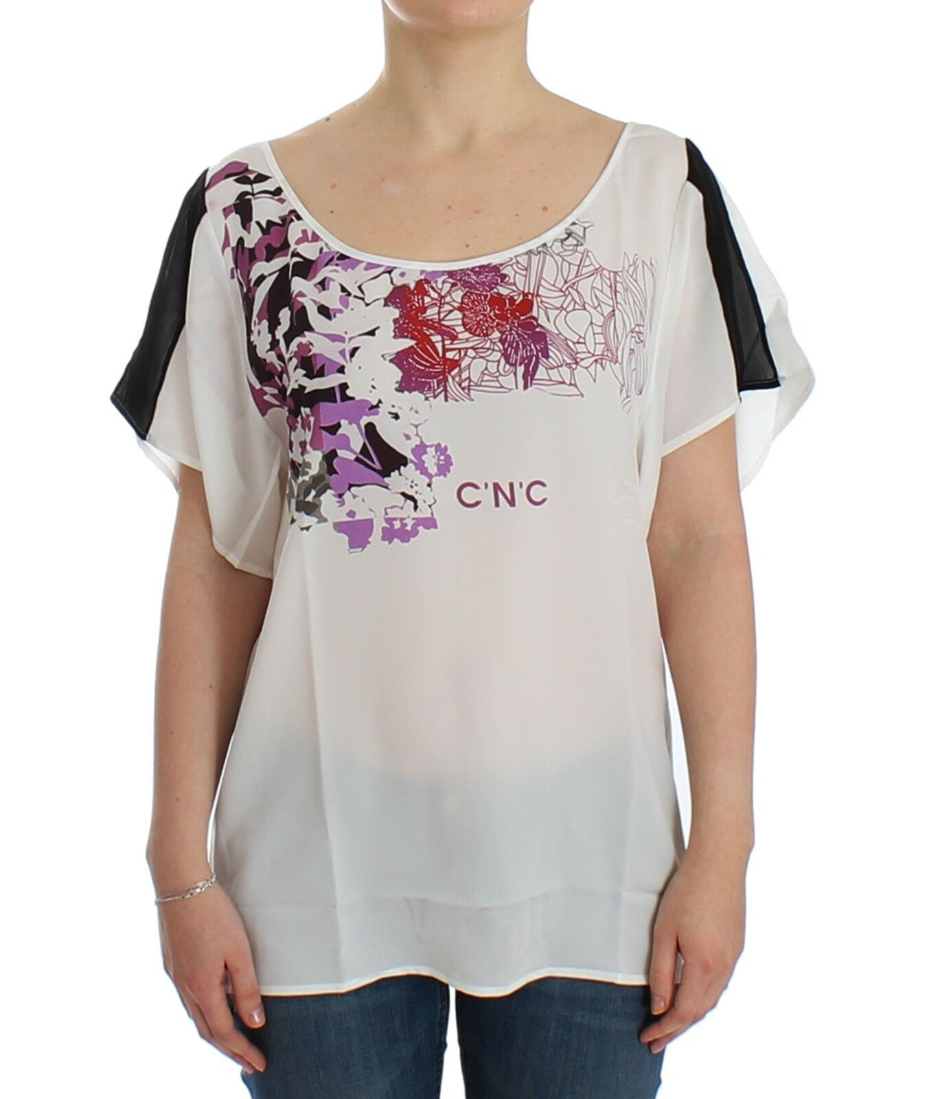 NWT  C'N'C COSTUME NATIONAL Weiß Motive Print T-shirt Top Tunic Blouse s. L