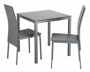 quite nice ea34a 75318 Details about Argos Home Lido Glass Dining Table & 2 Grey Chairs