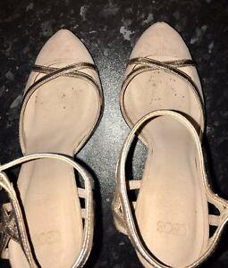 Women's Asos High Heels Stiletto Pumps Shoes Size 5 Beige Gold Nude Strap