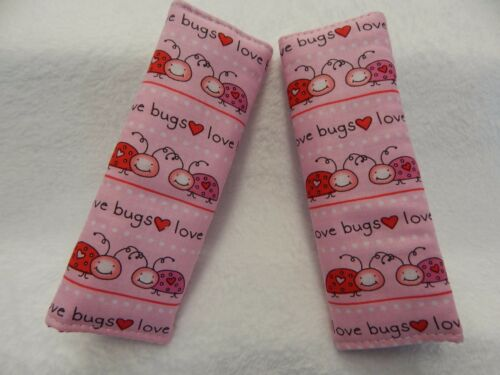 Love Bugs on Pink Baby Seat Strap Covers Pram Capsule Highchair Stroller