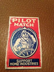 old-match-box-top-pilot-match-support-home-industries