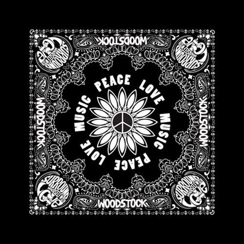 Woodstock Peace Love & Music Official Black Bandana Rock Band Music Kerchief Hea