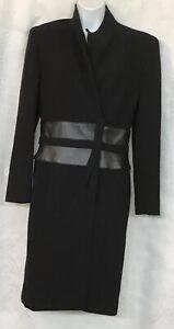 Escada-Dress-Black-Wool-Crepe-Wrap-Polyurethane-Leather-Like-Waist-Band-Size-36