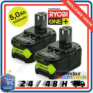 2x Batterie Pour Ryobi One Plus + 5.0ah 18v Rb18l25 Rb18l50 P108 P107 P104 P780