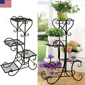4 Tier Plant Stand Screen Home Decor Folding Metal Flower Holder