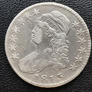 1813 Capped Bust Half Dollar 50c High Grade XF Rare Variety CLASHED DIES #7732