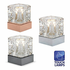 Minisun glass ice cube touch dimmer bedside table lamps dimmable lounge light ebay - Bedside lamps with dimmer ...