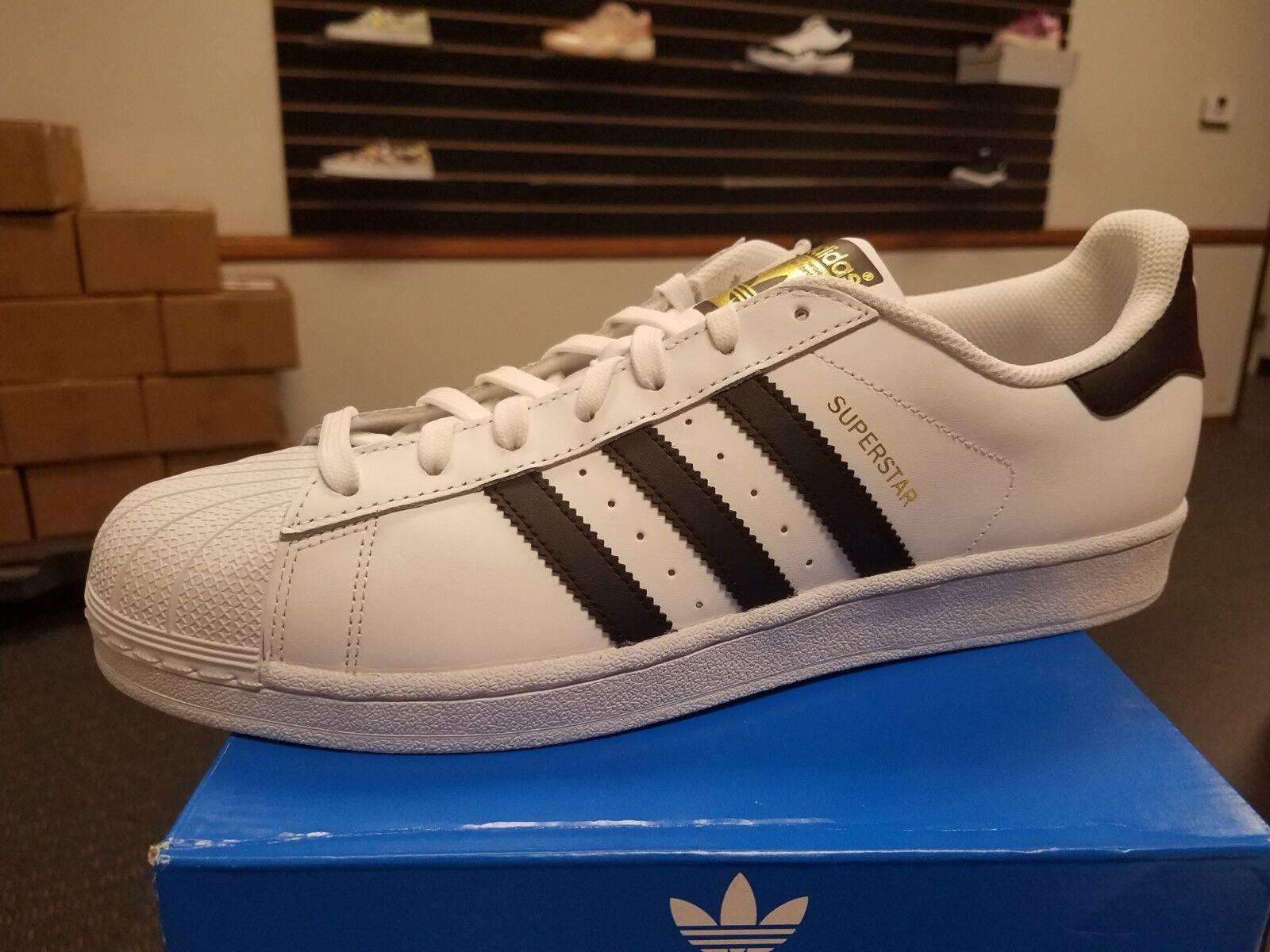 Brand New in Box Adidas Men's Super Star Basketball C77124 WHITE BLACK gold