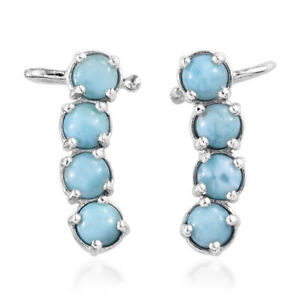 Larimar Platinum Over 925 Sterling Silver Climber Wrap Ear Cuff Earrings Ct 5.2