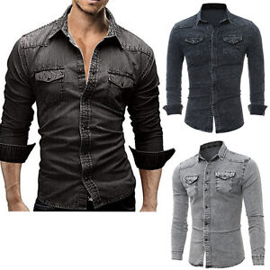 6e35afaa77 Men s Casual Luxury Stylish Wash Vintage Slim Fit Denim Shirts Tops ...
