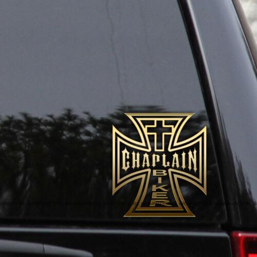 Chaplain Biker Cross Decal Sticker Jesus Iron Tetra Window Laptop Truck Car