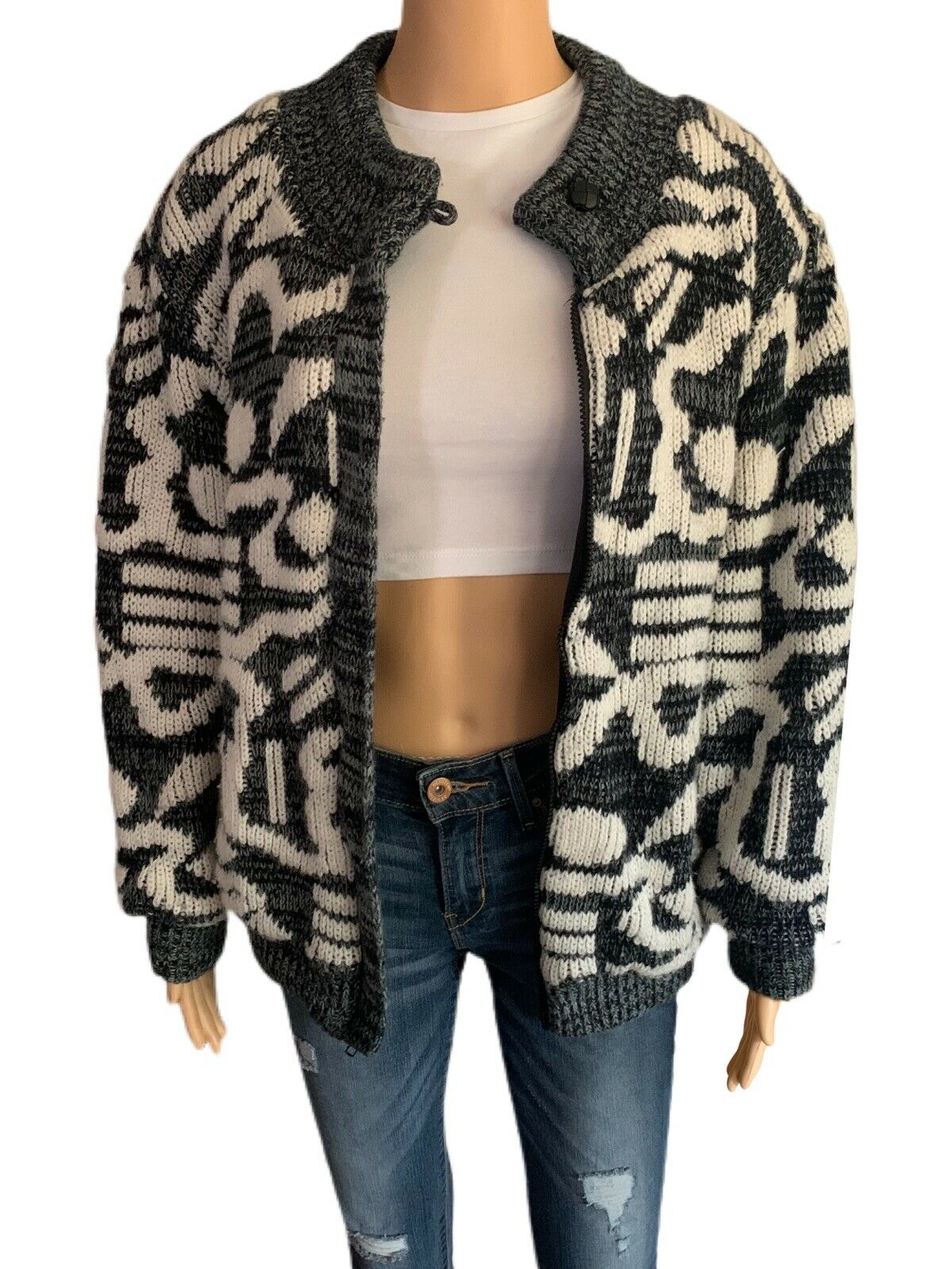 Chimayo Knit Sweater Jacket 80s Vintage Jacket Bo… - image 2