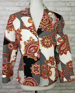 Chico's Size 1 paisley cotton blazer quilted 3/4 sleeves women's medium