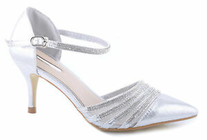 a5393073476 Image is loading Silver-Glitter-Shiny-Diamante-Straps-Pointed-Toe-Wedding-