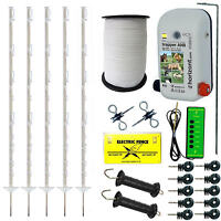 Electric Fence Starter Kit With An8 Energiser 4ft White Posts 20mm Tape Fencing