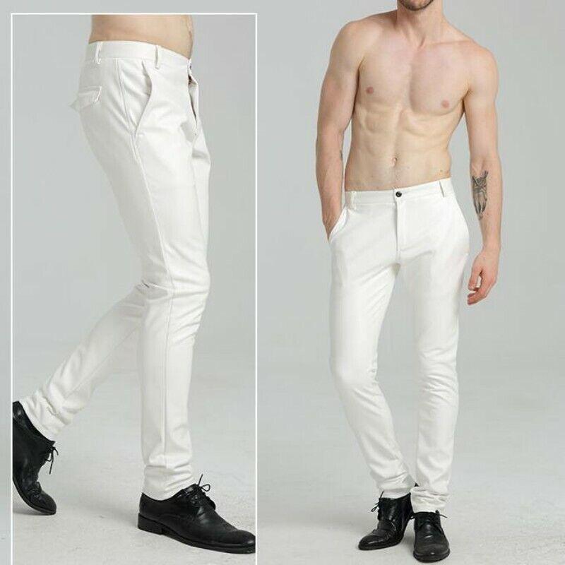 Hombres Pantalones de cuero entallado con  resorte Biker Street Coreano De Ocio Pantalón Skinny Nuevo  buena reputación