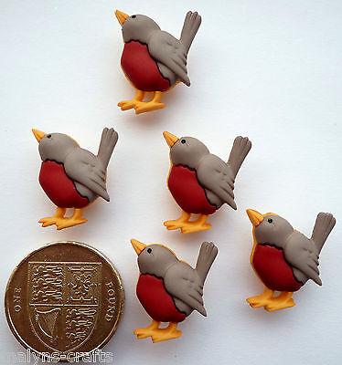 ROBIN Craft Buttons 1ST CLASS POST Bird Garden Red Breast Christmas Winter Fun