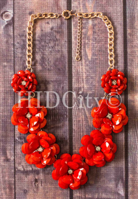 Coral Multi Color Beaded Rose Flower Crystal Statement Necklace Crew Fashion