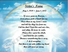 Poem For Loss Of Sister Personalized Memorial Gift If Roses Grow In