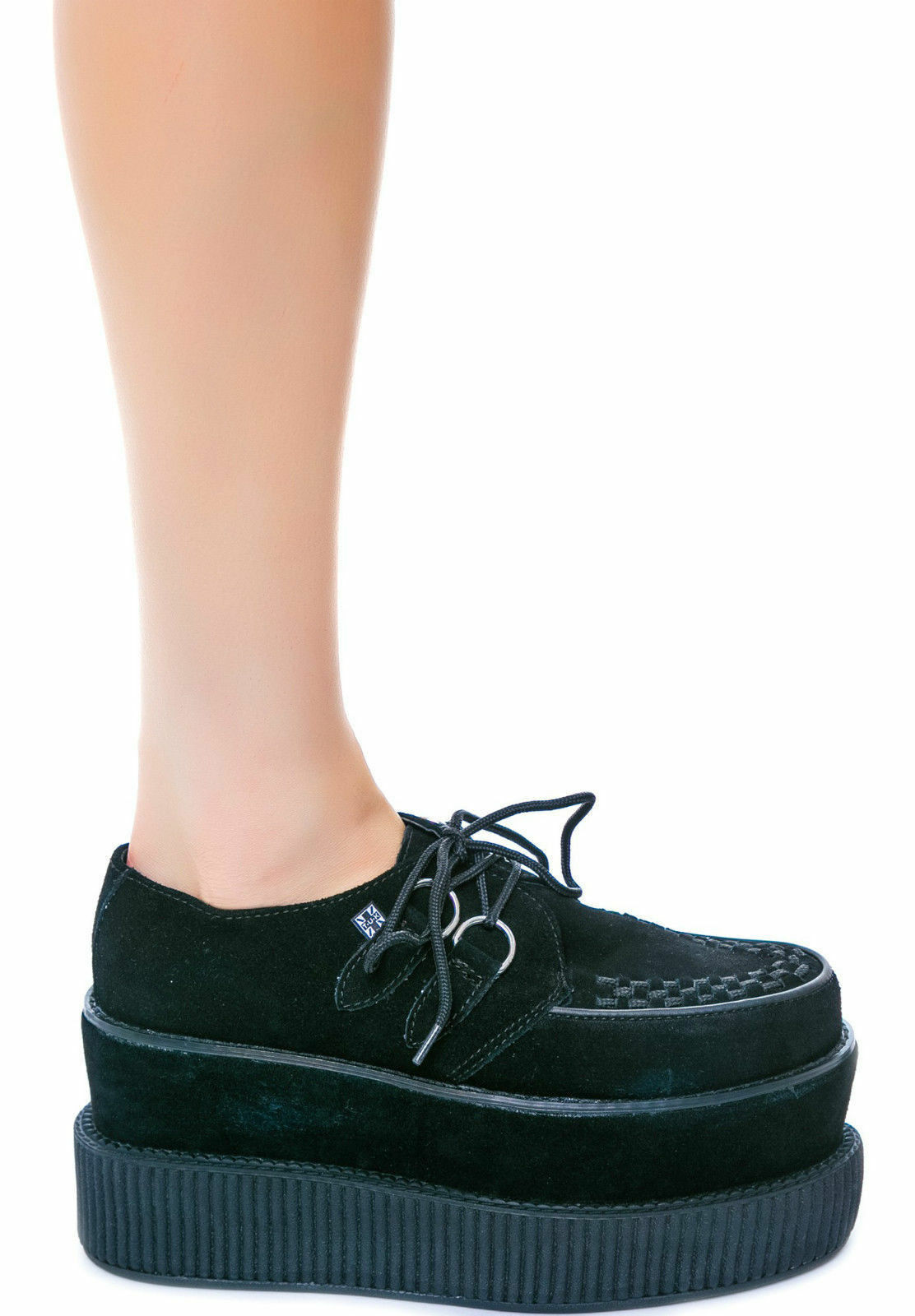 T.U.K. A8633 Tuk Punk shoes Black Suede Double Double Viva Mondo Creepers