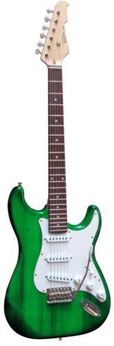 Massivholzkörper E-Gitarre MSA-Modell-ST5GRT//grün-transparent Anschlußkabel!n