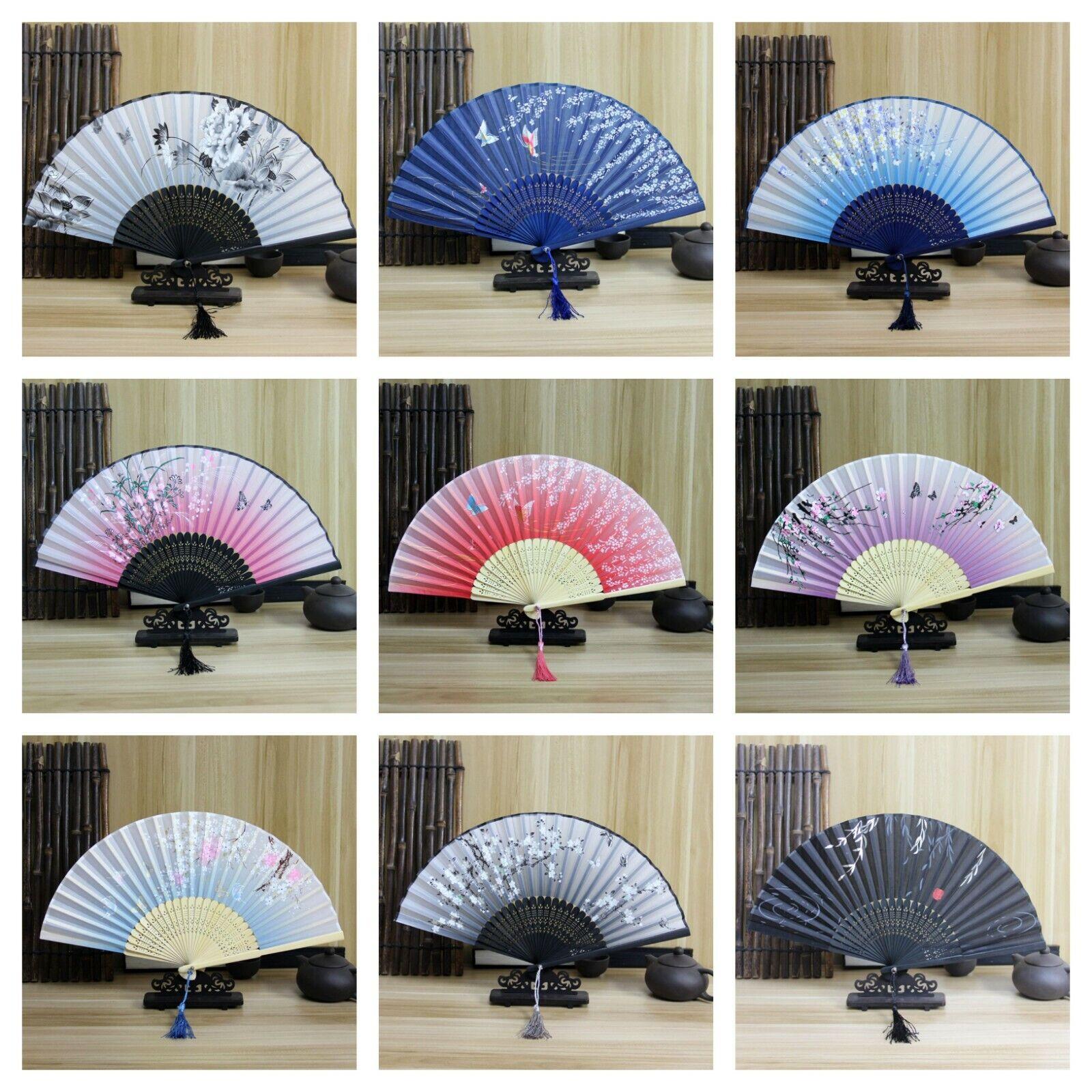 Japanese Chinese Hand Fan Folding Silk Bamboo Retro Printing Wedding Dance Prop