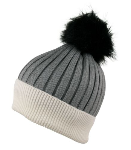 ITZU Cashmere Wool Blend Knit Faux Fur Bobble Pom Pom Pull On Beanie Cap Hat
