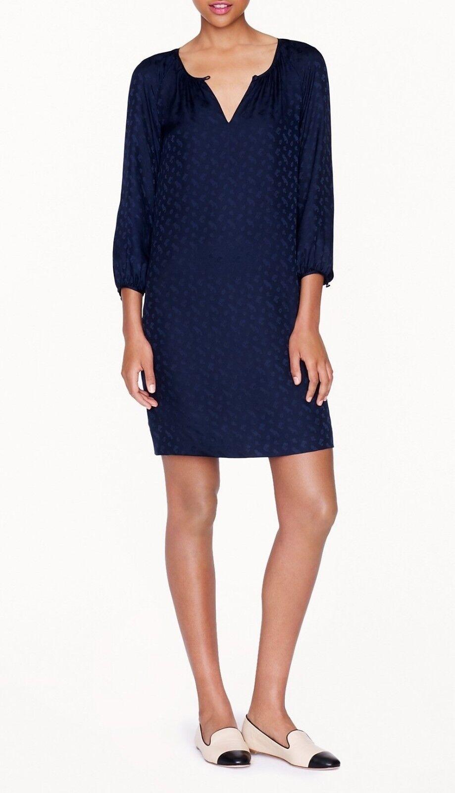 J.Crew Silk Jacquard Tonal Paisley Shirt Keyhole Dress Navy Blau 6 S 02807