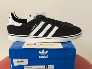 check out a398e aa10d Image is loading New-Mens-Adidas-Gazelle-BLACK-amp-WHITE-Size-