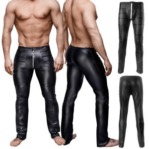 limited price enjoy lowest price top-rated quality Details about Men's Faux Leather Pants Biker Motorcycle Tight Pencil Pants  Trousers Front Zip
