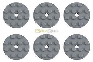 6x LEGO ® 60474 4x4 environ-Plaque NEUF-GRIS CLAIR AVEC TROU NEUF Grey Round Plate Hole  </span>