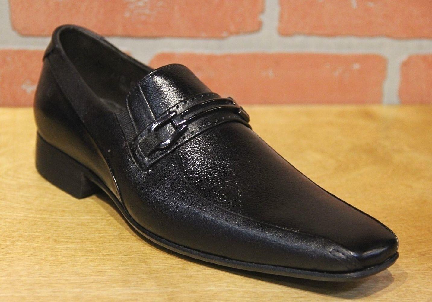 Alfredo Men's Black Leather Slip On Dress shoes Made in Brazil 0270