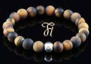 Tigerauge-matt-925er-sterling-Silber-Armband-Bracelet-Perlenarmband-8mm